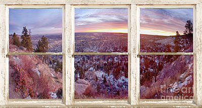 Mountain City White Rustic Barn Picture Window View Print by James BO  Insogna