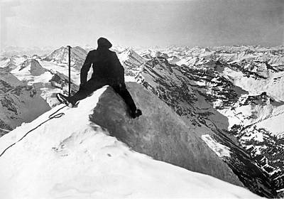 Mountain Climber On Jungfrau Print by Underwood Archives