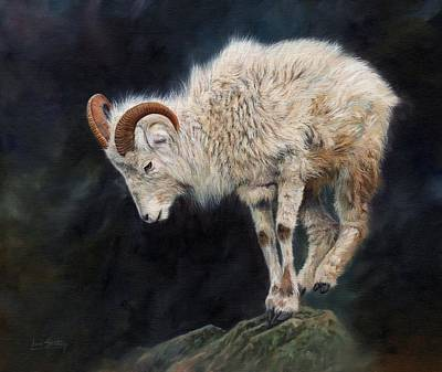 Mountain Goat Painting - Mountain Goat by David Stribbling