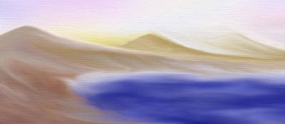 Mountain Lake - A Digital Painting Print by Gina Lee Manley