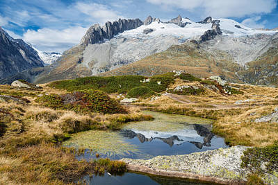 Mountain Landscape Water Reflection Swiss Alps Print by Matthias Hauser