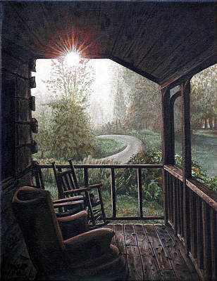 Rocking Chairs Painting - Mountain Memories by Cara Bevan