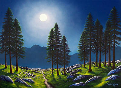 Pacific Crest Trail Painting - Mountain Moonglow by Frank Wilson