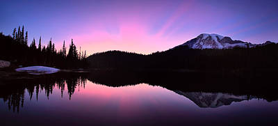Of Big Sur Beach Photograph - Mountain Rainier Reflection Lake by Emmanuel Panagiotakis