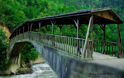 Bridge Painting - Mountain River Bridge by Bruce Nutting
