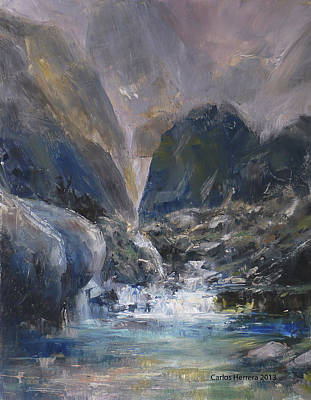 Schmid Painting - Mountain River by Carlos Herrera
