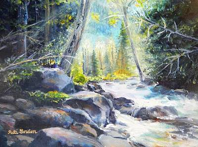 Babbling Brook Painting - Mountain River Glow by Patti Gordon