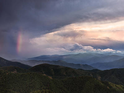 Mountain Storm And Rainbow Print by Leland D Howard