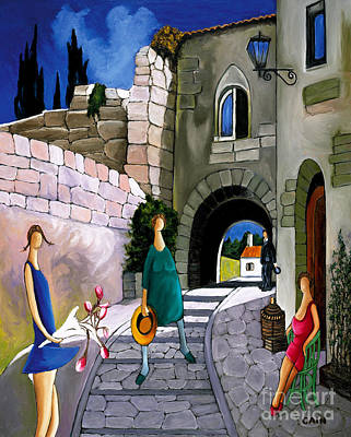 Life In Italy Painting - Mountain Village Art Print by William Cain