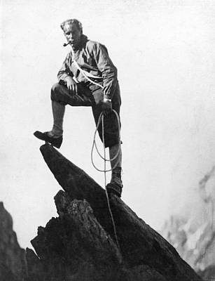 Mountaineer Takes A Break Print by Underwood Archives