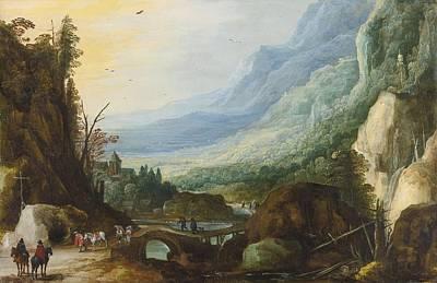 Bridge Painting - Mountainous Landscape With A Bridge Across A River by Celestial Images