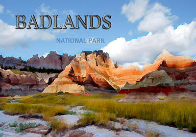 Badlands Painting - Mountains And Sky In The Badlands National Park  by Elaine Plesser