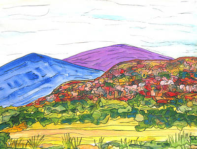 Mountains And South Mesa Print by Kerry Bennett