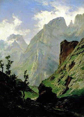 Valleys And Peaks Painting - Mountains In Europe by Carlos de Haes