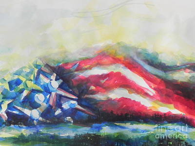 Abstract American Flag Painting - Mountains Of Freedom by Chrisann Ellis