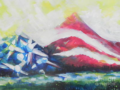 Abstract American Flag Painting - Mountains Of Freedom Two by Chrisann Ellis