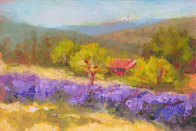 Sunlit Tree Painting - Mountainside Lavender   by Talya Johnson