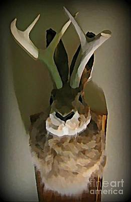 Mounted Jackalope From Vegas Print by John Malone