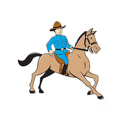 Mounted Police Officer Riding Horse Cartoon Print by Aloysius Patrimonio