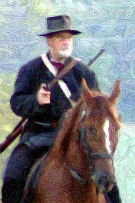 Mounted Union Soldier - Perryville Ky Print by Thia Stover
