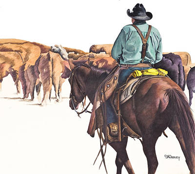 Cattle Drive Painting - Move Em Out by JK Dooley