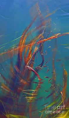 Ocean Photograph - Moving Kelp by Sean  James G