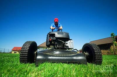 Mowing The Lawn Print by Michal Bednarek