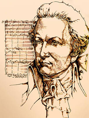 Ink Drawing Drawing - Mozart by Derrick Higgins