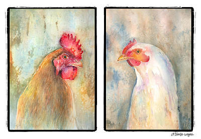 Chickens Painting - Mr. And Mrs. by Arline Wagner
