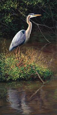 Mr Blue Heron Print by Laurie Hein