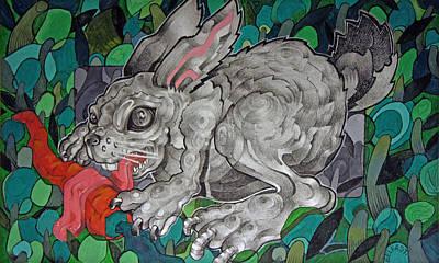 Mr Greedy Bunny Original by Myron  Belfast