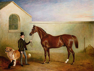 Mr Meakin Holding Sir Robert Peels Chestnut Hunter With His Dogs Hector And Jem Print by John E Ferneley