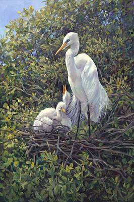 Crane Painting - Mr Mom by Laurie Hein