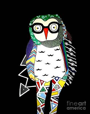 Chevron Owl Painting - Mr. Owl by Amy Sorrell