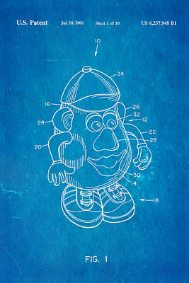 Mr Potato Head Patent Art 2001 Blueprint Print by Ian Monk