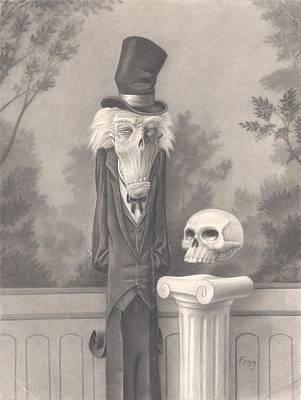 Black Tie Drawing - Mr. Skuggins by Richard Moore