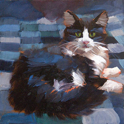 Bed Quilts Painting - Mr. Tuxedo by Alice Leggett