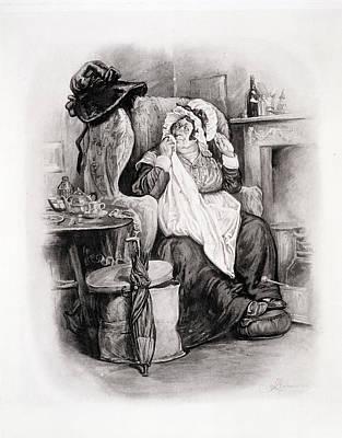 Nurse Shark Drawing - Mrs Gamp, From Charles Dickens A Gossip by Frederick Barnard