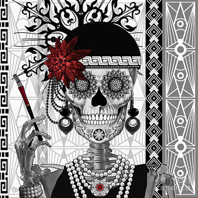 Black Mixed Media - Mrs. Gloria Vanderbone - Day Of The Dead 1920's Flapper Girl Sugar Skull - Copyrighted by Christopher Beikmann