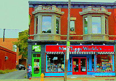 Mrs Tiggy Winkle's Toy Shop And Lost Marbles Richmond Rd The Glebe Paintings Ottawa Scenes C Spandau Print by Carole Spandau