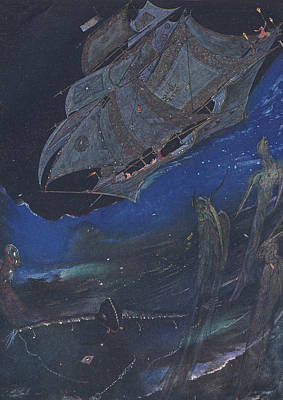 Victorian Painting - Ms In A Bottle by Harry Clarke