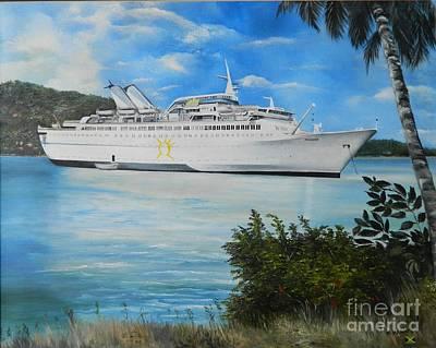Jamaican Art Painting - ms Starward in Port Antonio Jamaica by Kenneth Harris