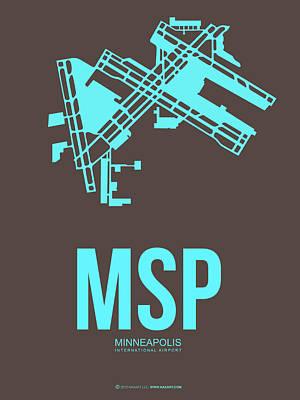 Minnesota Mixed Media - Msp Minneapolis Airport Poster 1 by Naxart Studio