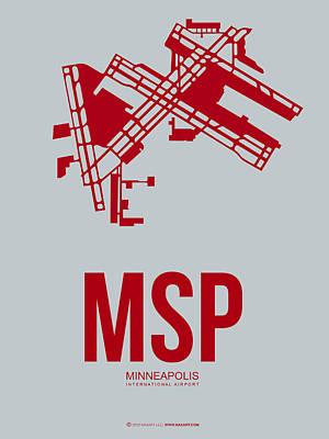 Minnesota Mixed Media - Msp Minneapolis Airport Poster 3 by Naxart Studio