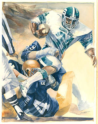 Michigan State Painting - Michigan State University Spartan Football Vs Notre Dame by Robert Brent