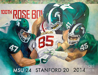 Michigan State Painting - Msu Spartans 2014 Rose Bowl Victory by Robert Brent