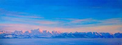 Mt Blanc Sunset Original by Ashley Loram