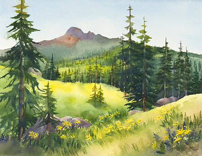 Lassen Painting - Mt. Diller And Pilot Pinnacle by Sylvia Smith