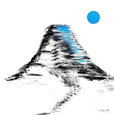 Rubiks Cube Painting - Mt Fuji Blue Moon by Gordon Lavender
