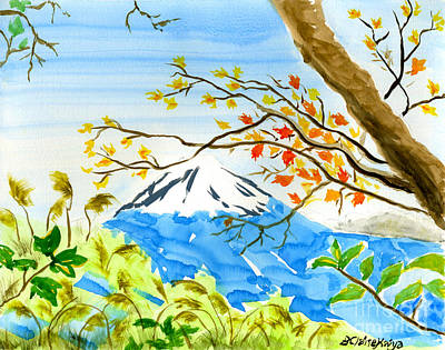 Reds Of Autumn Painting - Mt Fuji From Koyodai In Autumn by Beverly Claire Kaiya